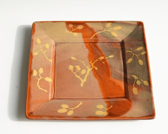 Square plate in earthenware clay with alder inlay