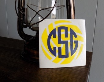 Volleyball & Initials Vinyl Decal