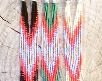 Long Fringe Earrings, Seed Bead Earrings, Long Boho Earrings, Seed Bead Earrings, Southwestern Earrings, Native American Inspired