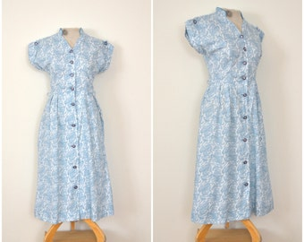 1950s teal paisley day dress // fifties cotton rhinestone shirtwaist // medium
