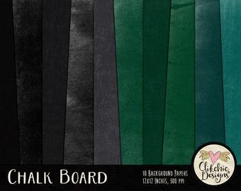 Chalkboard Digital Paper Pack - Chalk Board & Blackboard Digital Scrapbook Paper Textures