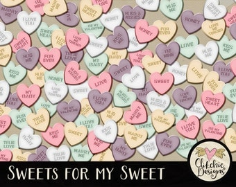 Candy Heart Clip Art Embellishments - 75 Romantic Candy Sweets for my Sweet Hearts Elements - Love Hearts