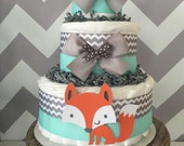 Fox Diaper Cake in Mint, Grey and White, Woodland Baby Shower Centerpiece