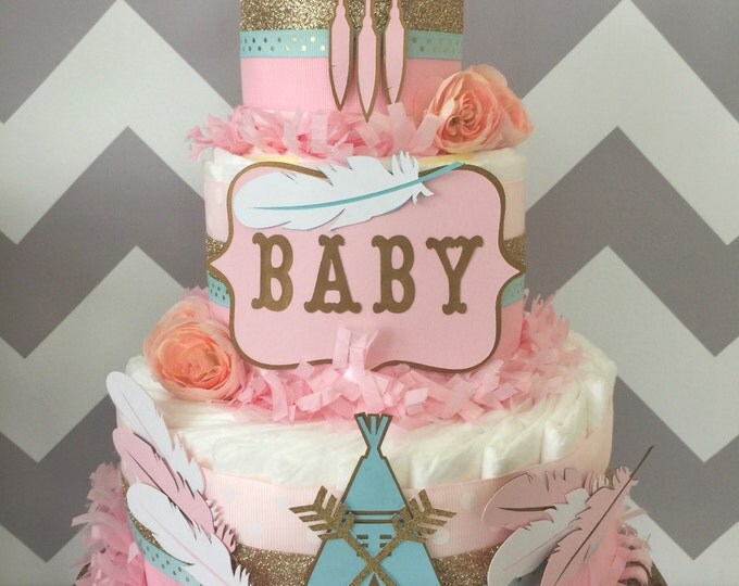 Featured listing image: Tribal Baby Shower Centerpiece in Pink, Mint and Gold, Bohemian Baby Shower Diaper Cake, Teepee