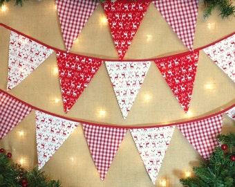 Nordic Christmas Bunting - Choose Your Own Length - From 1 Metre -  Scandinavian Stags and Gingham -Red and White - Red Tape