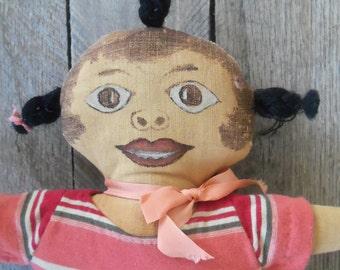 Antique Handmade Black Americana Folk Art Doll