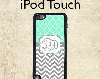 iPod 6 Case - Monogram iPod Case - Grey Chevron Mint Lattice - iPod Touch 5 Case - Personalized iPod Touch Case