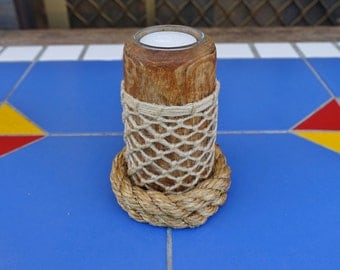 CANDLE FISHING FLOAT wooden fishing net float with Nautical ropework unique