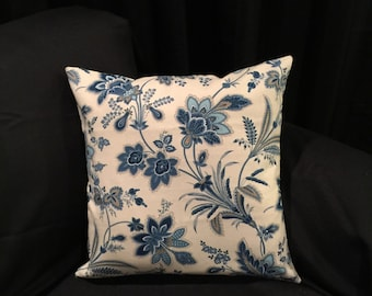 Blue & Cream Floral Pillow Cover