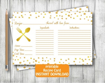 Gold Metal Printable Recipe Card,Gold Recipe Card, Confetti Recipe Card,Gold Metal Confetti Recipe Bridal Shower Card