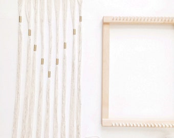 White & Gold Woven Wall Hanging