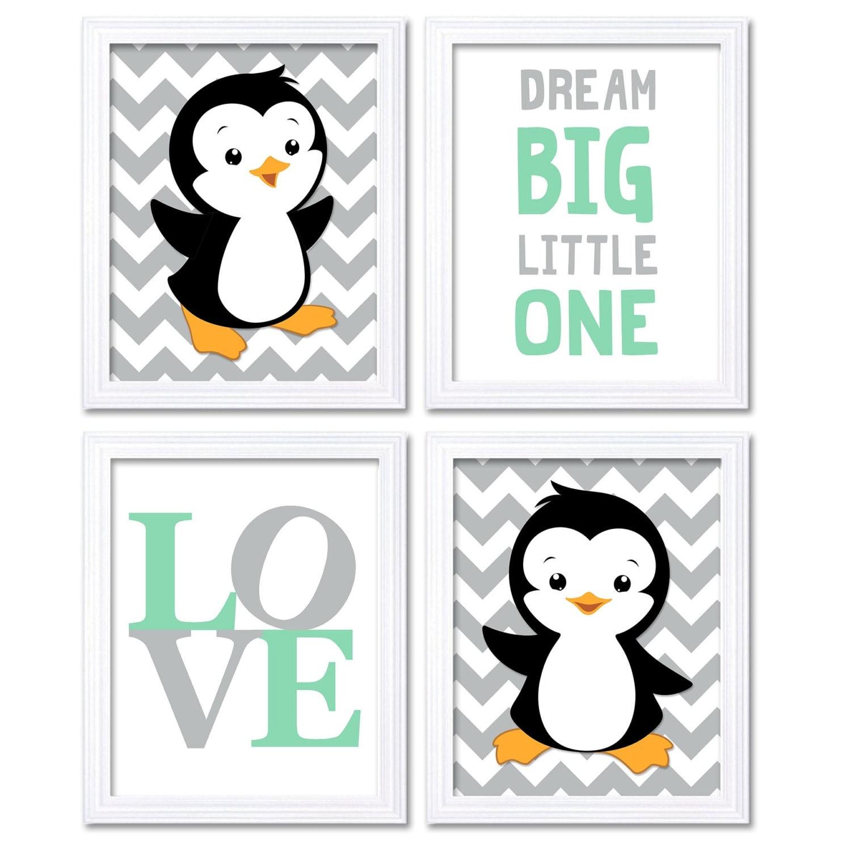 Penguin Nursery Art Baby Chevron Mint Green Grey Dream Big Little One LOVE Set of 4 Prints Penguin W