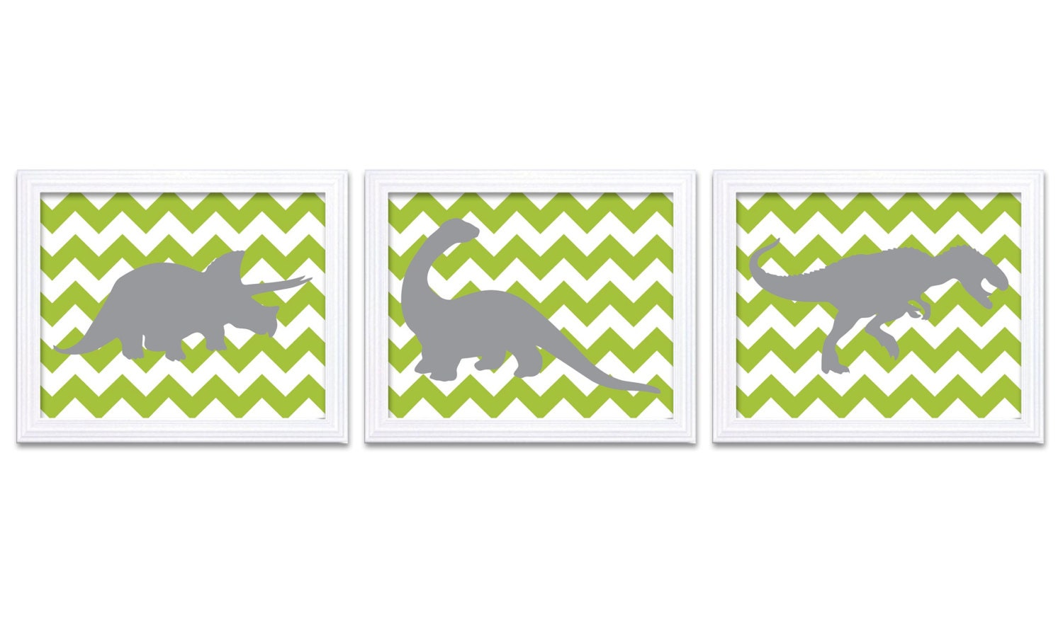 Dinosaur Nursery Art Dinosaurs Set of 3 Prints Grey Lime Green Chevron Tyrannosaurus Rex Triceratops