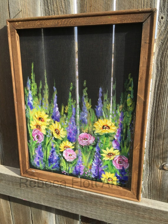 Wildflowers window screen recycled wood frame outdoor sign for Recycled window frames