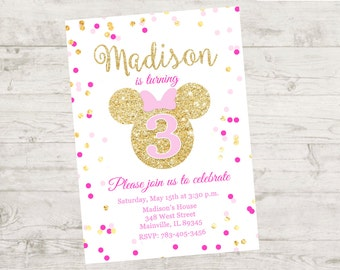 Minnie Mouse Pink Gold Glitter Birthday Party Invitation - Printable or Printed with FREE SHIPPING