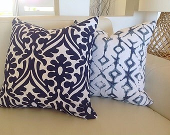 Navy Blue Pillows Modern Cushions Damask Pillows, Blue and White, Seafoam, Aqua, Navy Blue, Toss Cushion Covers.