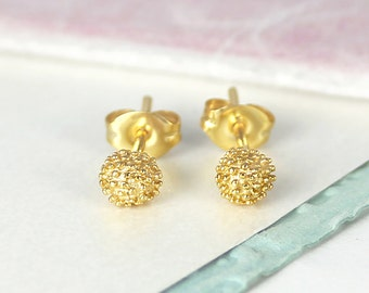 Gold Earrings, Tiny Studs, Round Studs, Handmade Gold Studs, Stud Earrings, 925 Earrings, Tiny Earrings, Gold Studs, Vermeil Earrings, Gifts