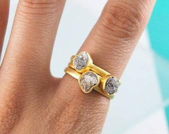 Diamond Ring, Stacking Rings, Gold Gemstone Rings, Unusual Wedding Rings, Rough Diamond, Rustic Diamond Jewelry, Organic Rings, Boho Wedding