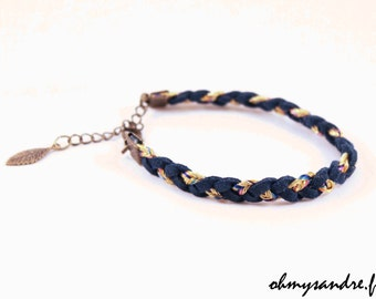 Bracelet braided Suede Blue night/gold and leaf bronze