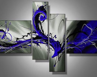 Blue Storm Abstract Painting Oil on Canvas Artwork set of 4 by NERON ART Free Shipping Wordwide