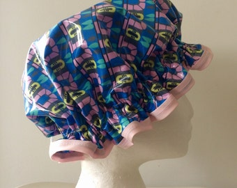 Shower Cap Retro Vintage Style. Handmade PVC & BPA Free. Laminated Cotton. Eco - Friendly. Gift For Her. Bath Gift