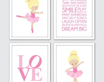 Ballerina Nursery Art Prints, Set Of 4, Baby Girl Nursery Art, Pink Ballerina Decor, Ballerina Wall Art, Pink Nursery Decor, Ballerina Gift