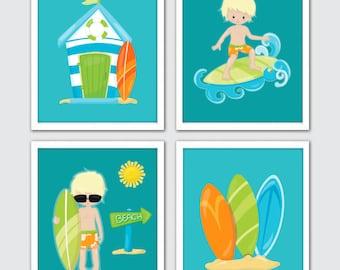 Beach themed nursery etsy for Surf nursery ideas