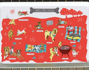 Shelter Dogs Serving Tray-City Tray-Melamine Tray-Serving Tray-Home Decor-Personalized-Custom-Any City Tray