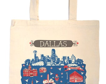 Dallas Tote Bag-City Tote-City Bag-Any City Tote-Texas Tote-Red-Blue-Gray-Personalized-Custom