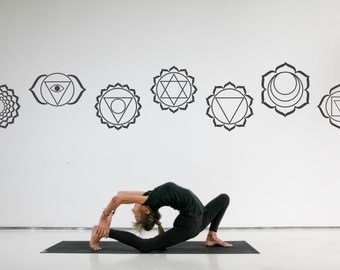 YOGA 7 Chakra Meditation symbols large vinyl wall stickers - wall removable vinyl decals