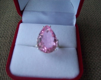 Kunzite Pink Pear Ring Sterling Silver - Huge 18x13 mm
