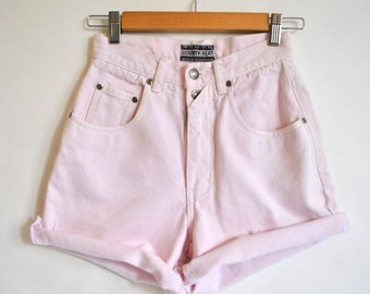 80s Pink Denim Shorts / High Waisted Cutoff Jean Shorts / Light Acid Wash Cotton