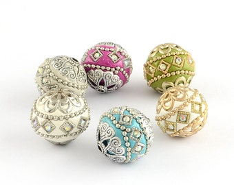 Round Handmade Grade A Rhinestone Indonesia Beads, with Alloy Cores, Mixed Color, 19.5x20mm, Hole: 2mm   103