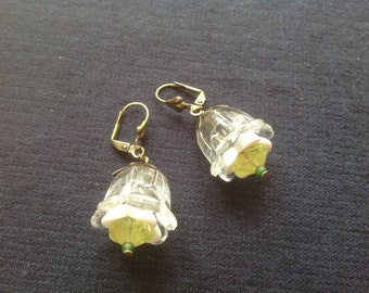 Bell flower vintage Czech glass and lucite earrings