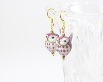 Purple Ceramic Owl Drop Earrings #1030