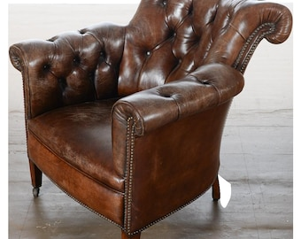 Chesterfield Tufted Brown Leather Club Chair
