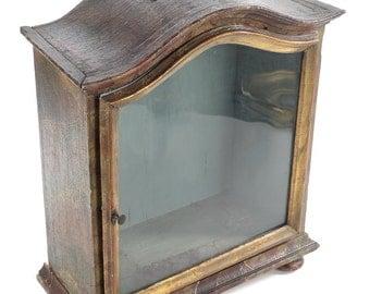 "19th century Italian Giltwood & Glass 18"" Reliquary Vitrine"