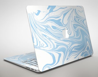Marbleized Swirling Soft Blue v91 - Apple MacBook Air or Pro Skin Decal Kit (All Versions Available)