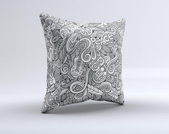 The Hippie Dippie Doodles ink-Fuzed Decorative Throw Pillow