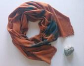 Shibori scarf / hand-dyed scarf /rust / shibori /lightweight scarf /silky scarf /eco fashion/ Made to order