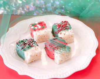 Christmas  Chocolate Covered Mini Rice Krispie Treats – 2 Dozen