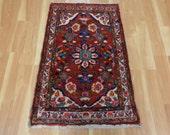 Persian Rug Small Red Rug Wool Oriental Rug 2' 4 x 3' 5 Hamedan Area Rug Traditional Rug Floor Rug Home Decor 2x3 Carpet