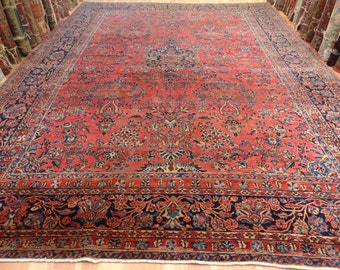 Antique PERSIAN RUG Large Sarouk Oriental Rug 10' 2 x 13' 9 Dark Magenta Rose