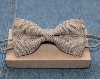 Gray Burlap Wedding Bow Tie, Baby Boys Bow Tie, Best Men Bow Tie, Linen Bow Tie