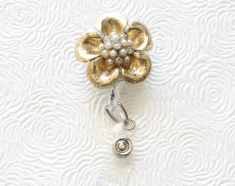 Gold or Black Flower Brooch ID Badge Reel /Nurse/Doctor/Medical/Teacher/School/Office/Brooch/Jewelry