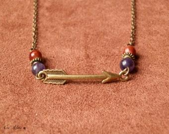 Arrow Amethsyte chain Bronze ethnic, Boho necklace