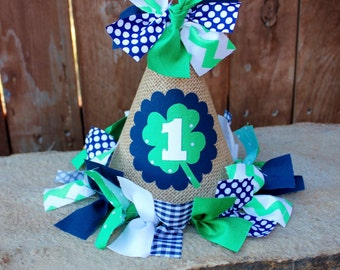 Four Leaf Clover Fabric and Burlap First Birthday Party Hat, Photo Prop, Cake Smash - St. Partick's Day Birthday Party Hat