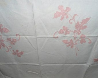 Cream and Pink  Tablecloth from the 1950's - Great Condition - Possibly Linen - Embroidery - Rose
