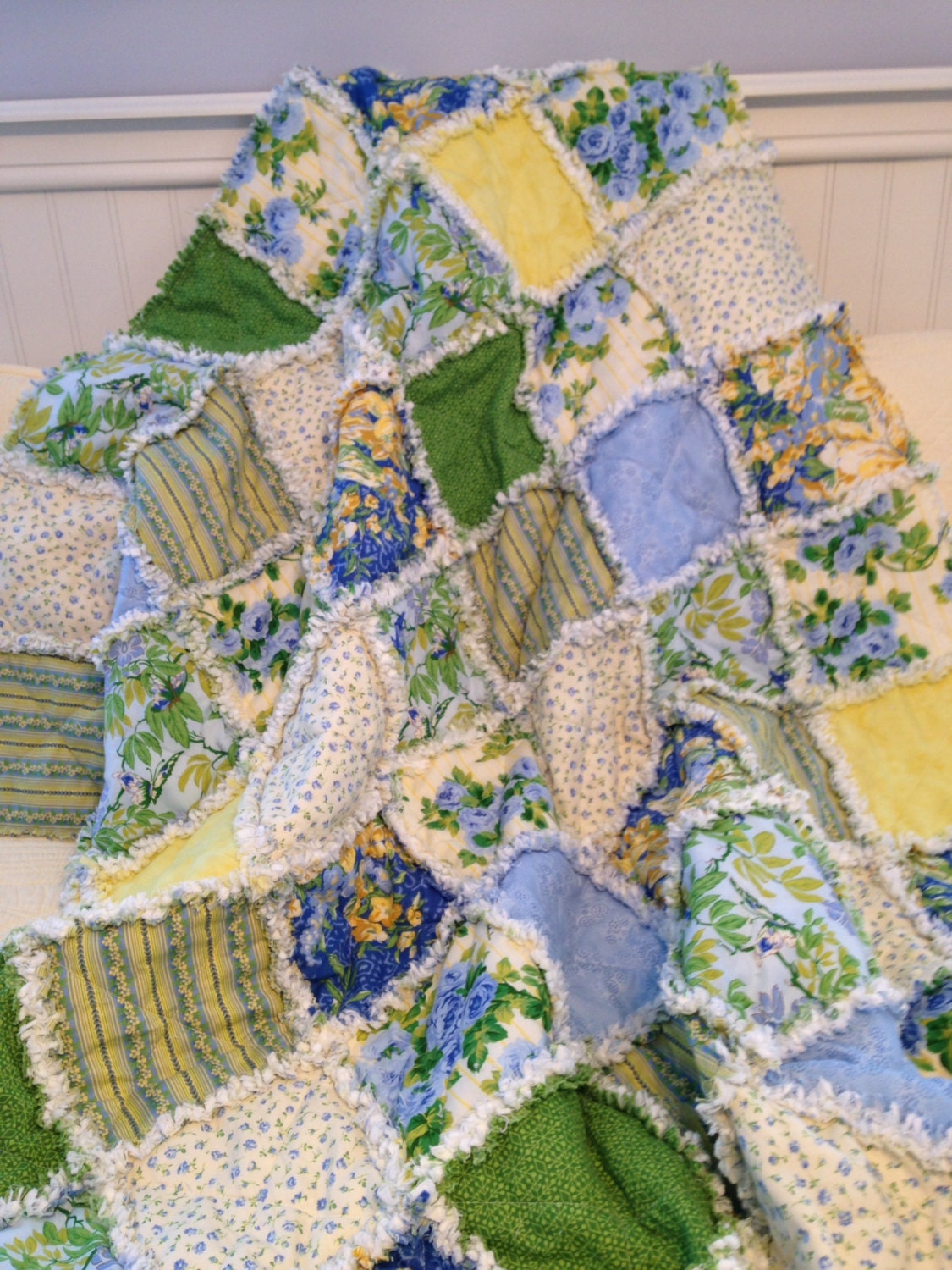 Rag Quilt Lap Quilt Throw Blanket Cottage Chic Shabby