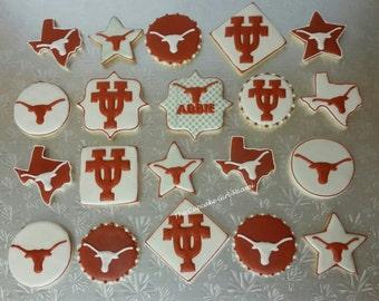 University Of Texas UT college cookies 1 Dozen Texas cookies party favors